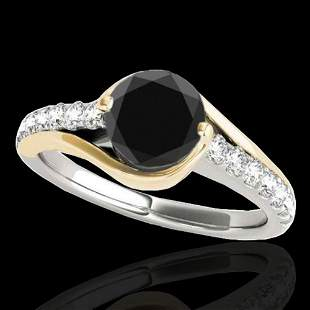1.25 ctw Certified Black Diamond Solitaire Ring 10k