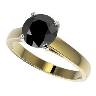2.15 ctw Fancy Black Diamond Solitaire Engagment Ring