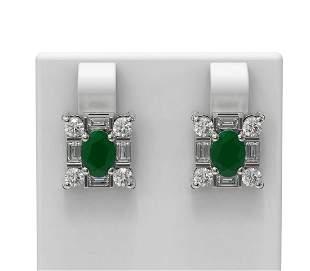 3.83 ctw Emerald & Diamond Earrings 18K White Gold -