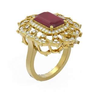 6.75 ctw Ruby & Diamond Ring 18K Yellow Gold -