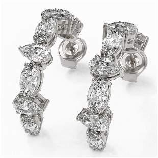 4.16 ctw Pear Cut Diamond Designer Earrings 18K White