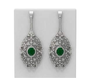 18.58 ctw Emerald & Diamond Earrings 18K White Gold -