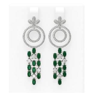 11.72 ctw Emerald & Diamond Earrings 18K White Gold -