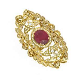 8.82 ctw Ruby & Diamond Ring 18K Yellow Gold -