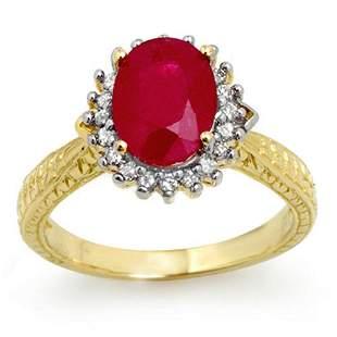 2.75 ctw Ruby & Diamond Ring 18k Yellow Gold -