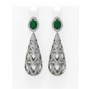 7.82 ctw Emerald & Diamond Earrings 18K White Gold -