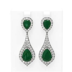 13.6 ctw Emerald & Diamond Earrings 18K White Gold -