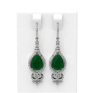 8.43 ctw Emerald & Diamond Earrings 18K White Gold -