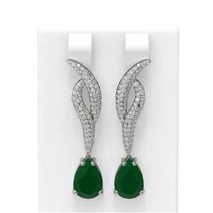 6.79 ctw Emerald & Diamond Earrings 18K White Gold -