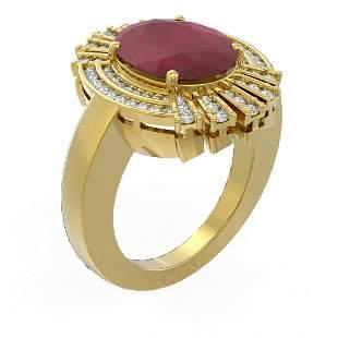 7.72 ctw Ruby & Diamond Ring 18K Yellow Gold -