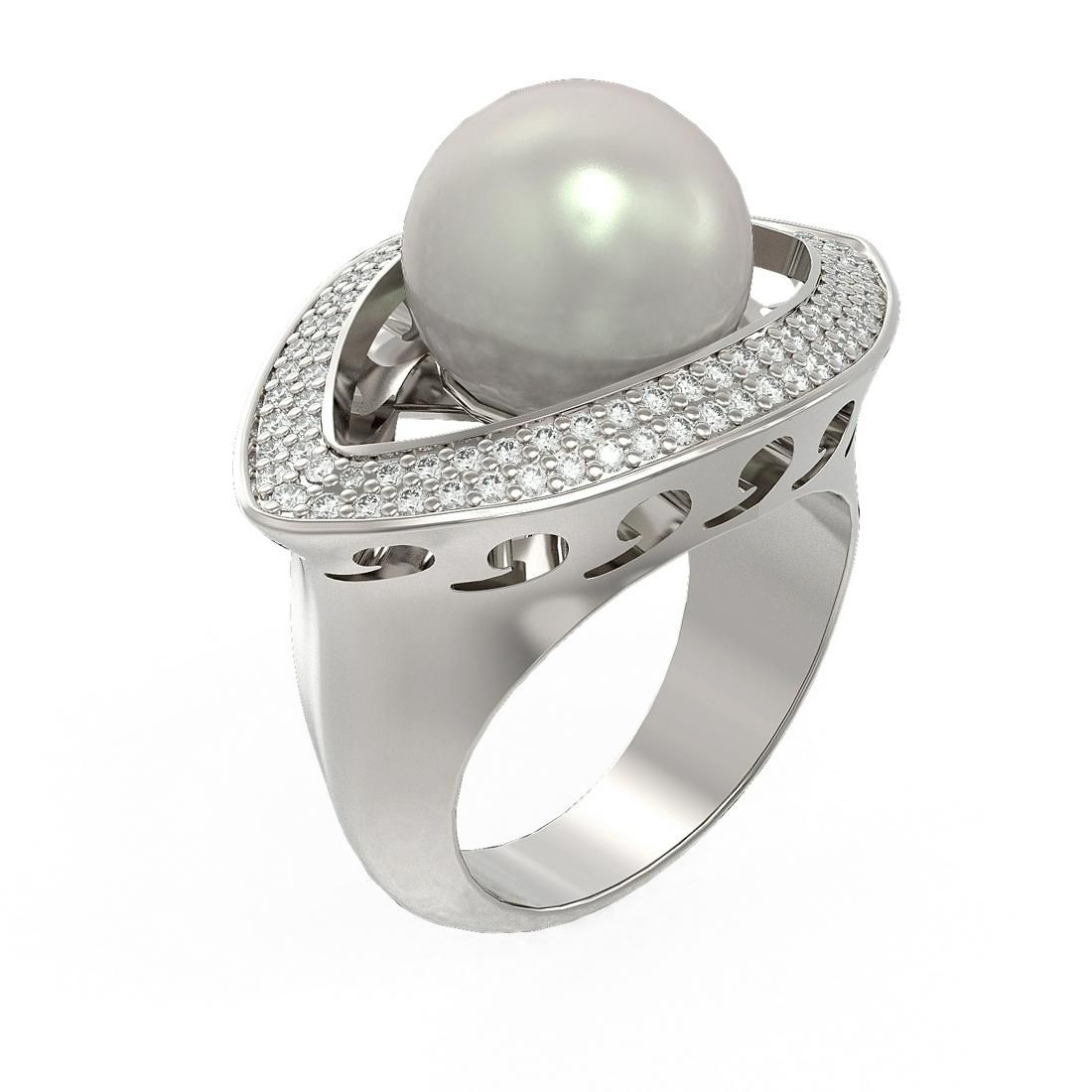 1 ctw Diamond & Pearl Ring 18K White Gold - REF-169K3Y