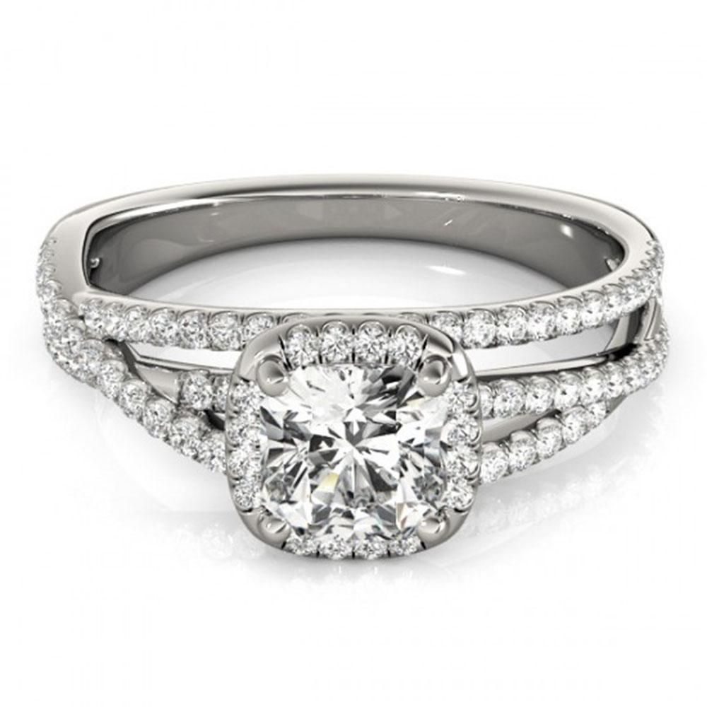 1 ctw Certified VS/SI Cushion Diamond Halo Ring 18k