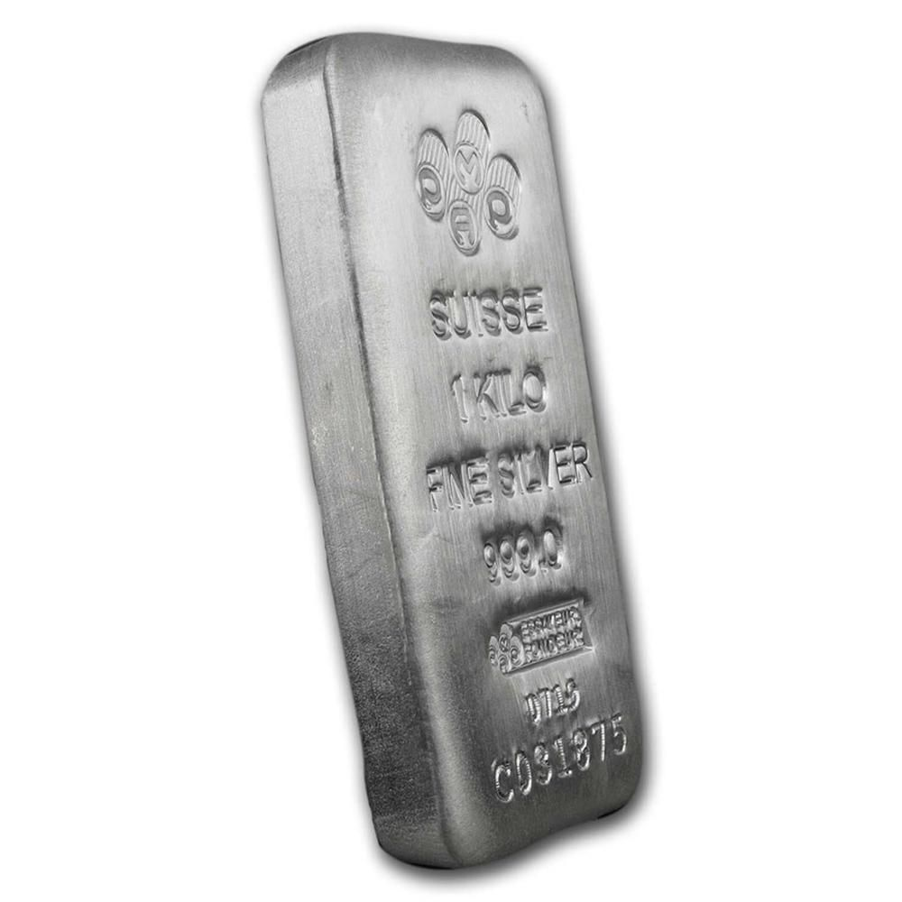 One piece 1 kilo 0.999 Fine Silver Bar PAMP Suisse -