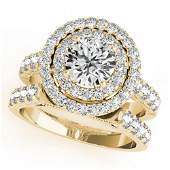 3.42 ctw Certified VS/SI Diamond 2pc Wedding Set Halo