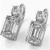 1.8 ctw Emerald Cut Diamond Designer Earrings 18K White