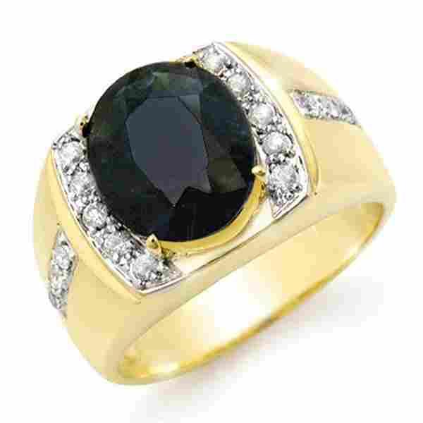 6.33 ctw Blue Sapphire & Diamond Men's Ring 10k Yellow