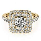 2.3 ctw Certified VS/SI Diamond Halo Ring 18k Yellow