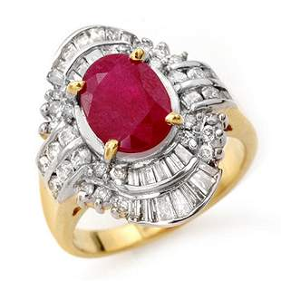 4.58 ctw Ruby & Diamond Ring 14k Yellow Gold -