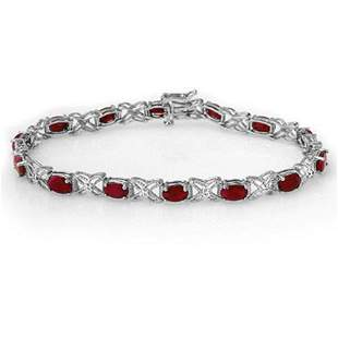8.55 ctw Ruby & Diamond Bracelet 14k White Gold -