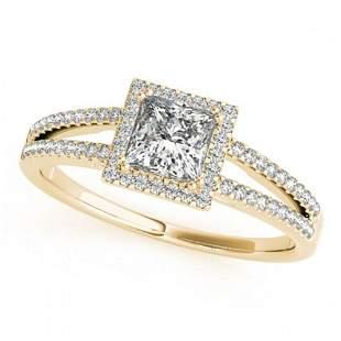 1.1 ctw Certified VS/SI Princess Diamond Halo Ring 18k