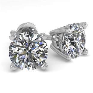 1.0 ctw VS/SI Diamond Stud Designer Earrings 18k White