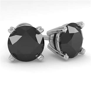3.0 ctw Black Diamond Stud Designer Earrings 14k White