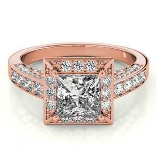2.1 ctw Certified VS/SI Princess Diamond Halo Ring 18k
