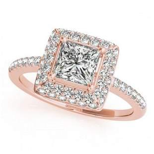 1.5 ctw Certified VS/SI Princess Diamond Halo Ring 18k