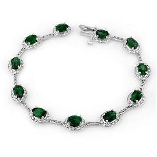 10.40 ctw Emerald & Diamond Bracelet 10k White Gold -