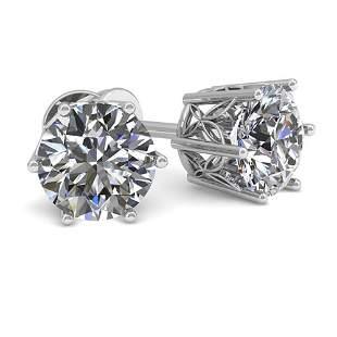 1.0 ctw Certified VS/SI Diamond Stud Earrings 18k White