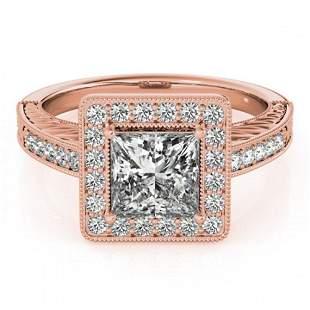 1.05 ctw Certified VS/SI Princess Diamond Halo Ring 18k