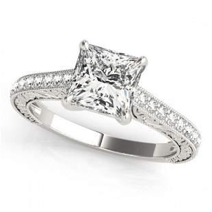 0.8 ctw Certified VS/SI Princess Diamond Ring 18k White