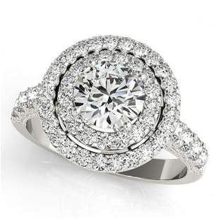 3 ctw Certified VS/SI Diamond Halo Ring 18k White Gold