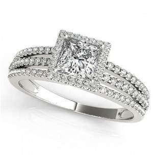 1.2 ctw Certified VS/SI Princess Diamond Halo Ring 18k