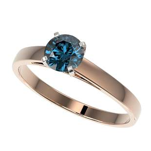 0.76 ctw Certified Intense Blue Diamond Engagment Ring