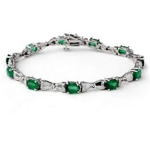 6.11 ctw Emerald & Diamond Bracelet 10k White Gold -