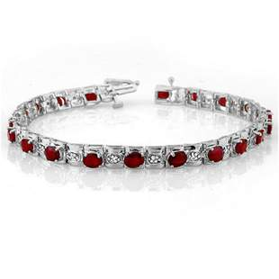 6.09 ctw Ruby & Diamond Bracelet 14k White Gold -