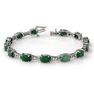 11.04 ctw Emerald & Diamond Bracelet 10k White Gold -
