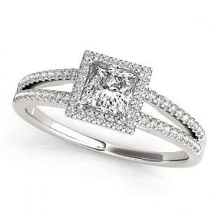 0.85 ctw Certified VS/SI Princess Diamond Halo Ring 18k