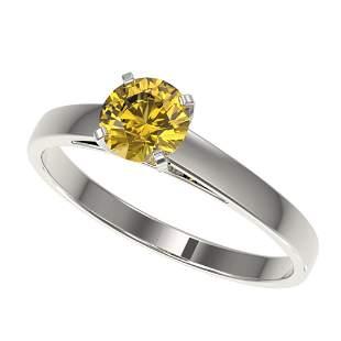 0.77 ctw Certified Intense Yellow Diamond Engagment