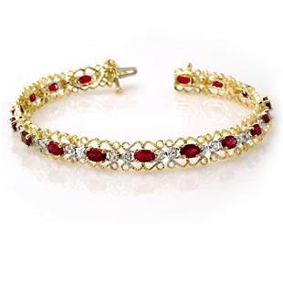 4.22 ctw Ruby & Diamond Bracelet 10k Yellow Gold -