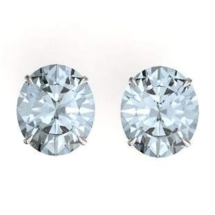 18 ctw Sky Blue Topaz Designer Stud Earrings 18k White