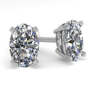 1.0 ctw Oval Cut VS/SI Diamond Stud Designer Earrings