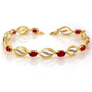5.10 ctw Ruby & Diamond Bracelet 10k Yellow Gold -
