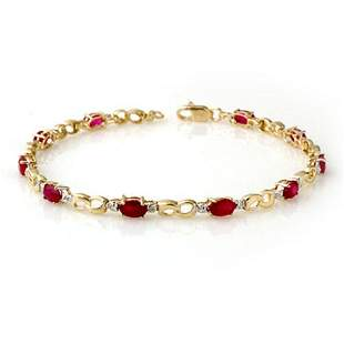 3.76 ctw Ruby & Diamond Bracelet 10k Yellow Gold -