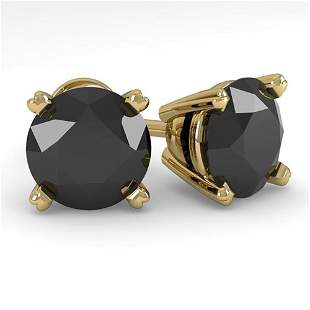 3.0 ctw Black Diamond Stud Designer Earrings 14k Yellow