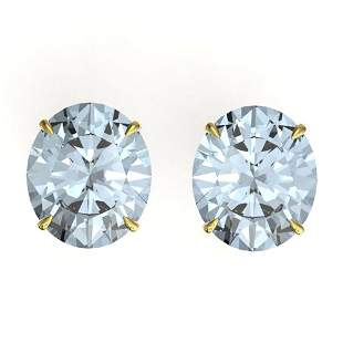 18 ctw Sky Blue Topaz Designer Stud Earrings 18k Yellow