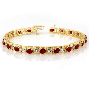 6.09 ctw Ruby & Diamond Bracelet 10k Yellow Gold -