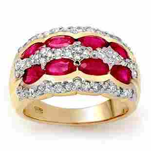 2.50 ctw Ruby & Diamond Ring 14k Yellow Gold -