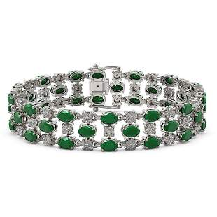 17.74 ctw Emerald & Diamond Row Bracelet 10K White Gold
